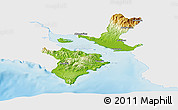 Physical Panoramic Map of Puntarenas, single color outside