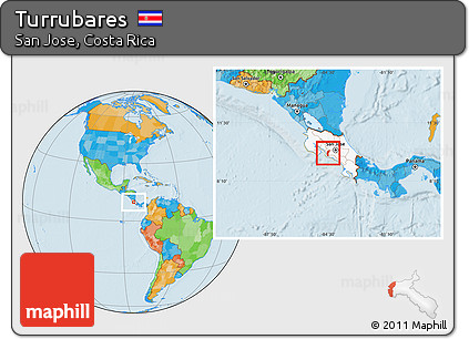 Free Political Location Map of Turrubares, highlighted country