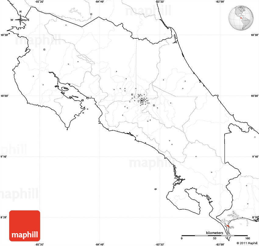 Blank Simple Map of Costa Rica, no labels