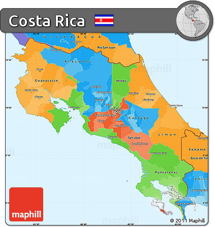 costa rica political map Free Political Simple Map Of Costa Rica costa rica political map