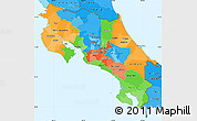 Political Simple Map of Costa Rica, political shades outside
