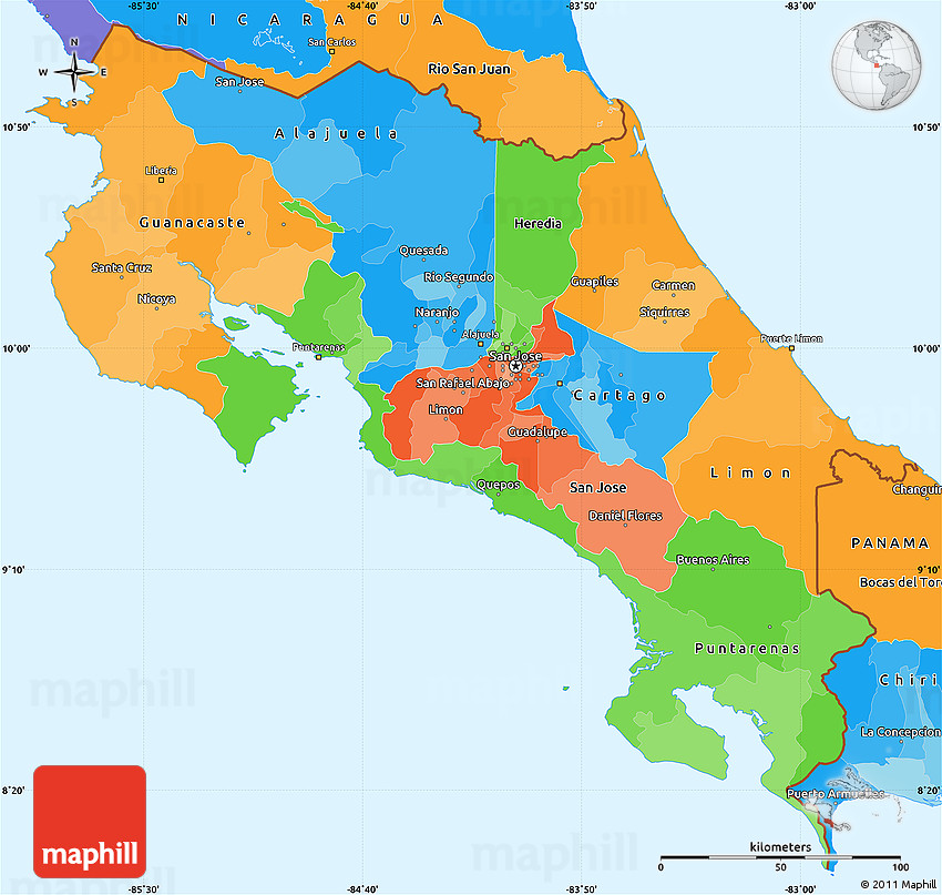Political Simple Map of Costa Rica