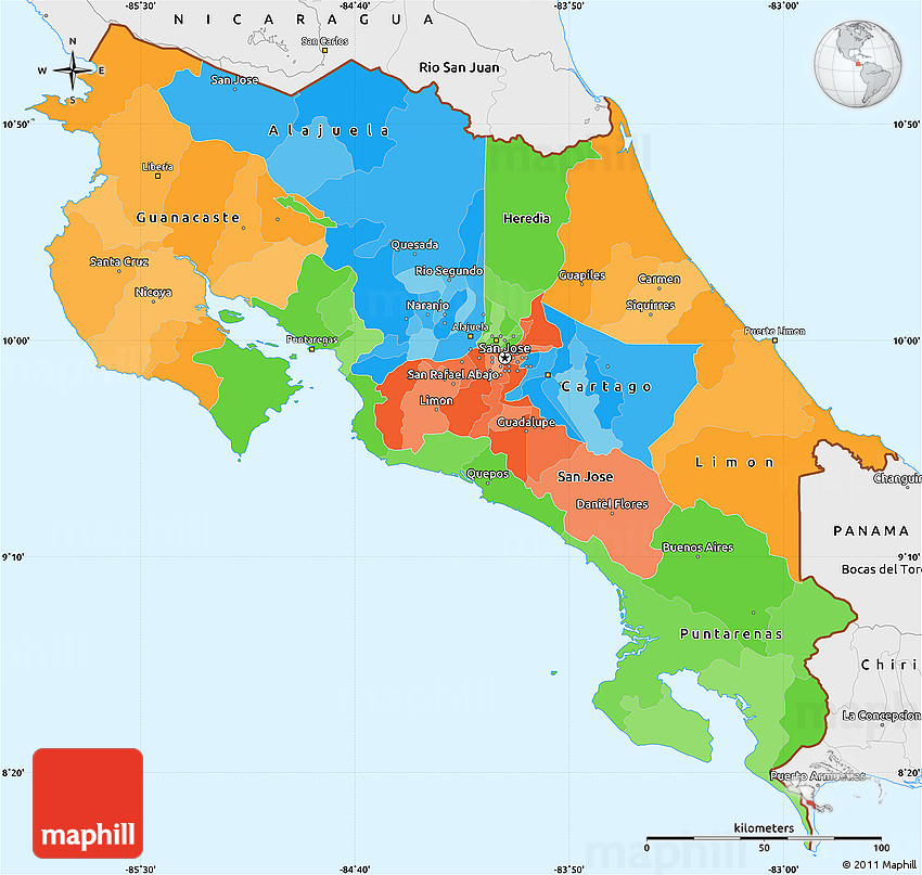 Political Simple Map Of Costa Rica Single Color Outside Borders And Labels