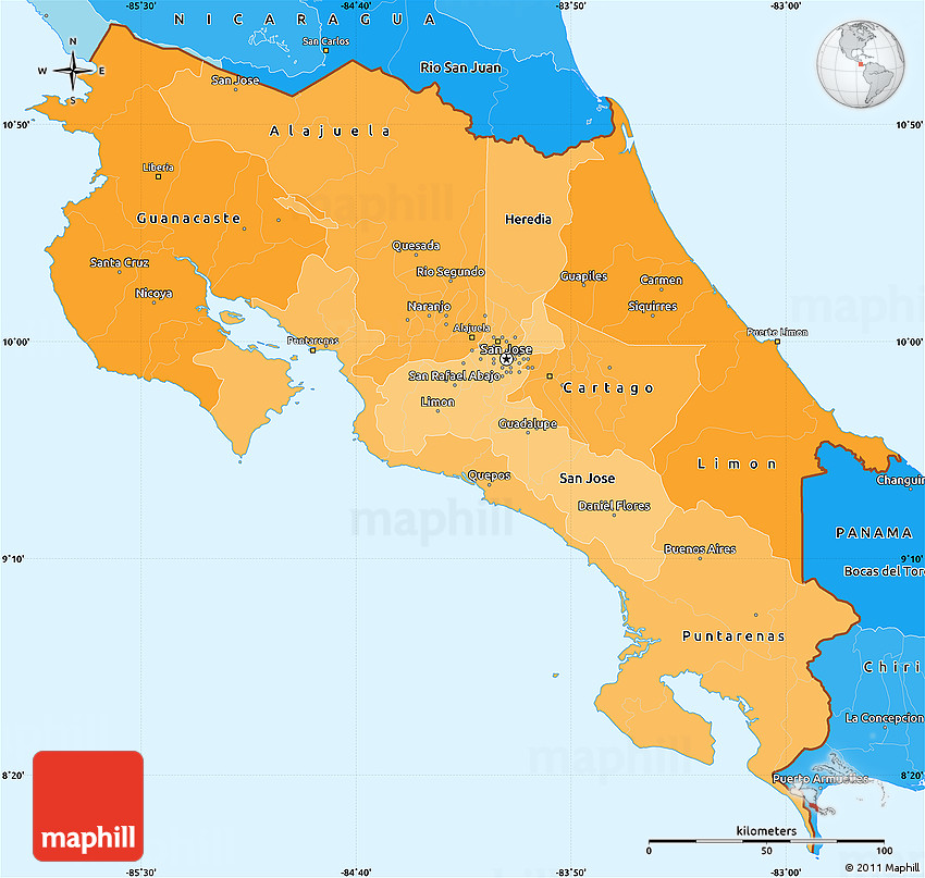 Political Shades Simple Map Of Costa Rica