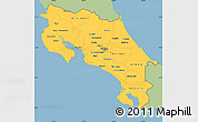 Savanna Style Simple Map of Costa Rica, single color outside