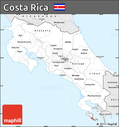 Silver Style Simple Map of Costa Rica