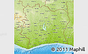 Physical 3D Map of Cote d'Ivoire