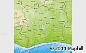 Physical 3D Map of Cote d'Ivoire