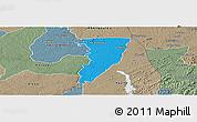 Political Panoramic Map of Bettie, semi-desaturated