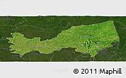 Satellite Panoramic Map of Bondoukou, darken