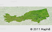 Satellite Panoramic Map of Bondoukou, lighten