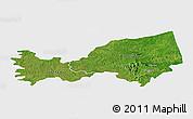 Satellite Panoramic Map of Bondoukou, single color outside