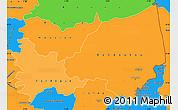 Political Shades Simple Map of Bondoukou, political outside