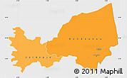 Political Shades Simple Map of Bondoukou, single color outside