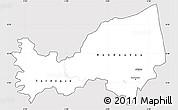 Silver Style Simple Map of Bondoukou, cropped outside