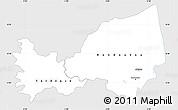 Silver Style Simple Map of Bondoukou, single color outside