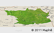 Satellite Panoramic Map of Bouna, shaded relief outside