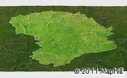 Satellite Panoramic Map of Bouna, darken