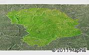 Satellite Panoramic Map of Bouna, semi-desaturated