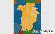 Political Shades Map of Boundiali, darken