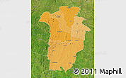Political Shades Map of Boundiali, satellite outside