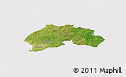 Satellite Panoramic Map of Ferkessedougou, cropped outside