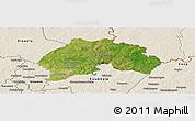 Satellite Panoramic Map of Ferkessedougou, shaded relief outside