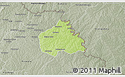 Physical 3D Map of Ouangolodougou, semi-desaturated