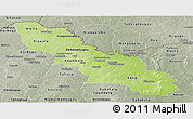 Physical Panoramic Map of Ferkessedougou, semi-desaturated