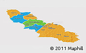 Political Panoramic Map of Ferkessedougou, single color outside
