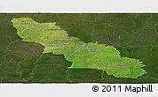 Satellite Panoramic Map of Ferkessedougou, darken