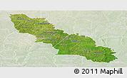 Satellite Panoramic Map of Ferkessedougou, lighten