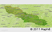 Satellite Panoramic Map of Ferkessedougou, physical outside