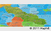 Satellite Panoramic Map of Ferkessedougou, political shades outside