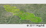 Satellite Panoramic Map of Ferkessedougou, semi-desaturated