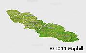 Satellite Panoramic Map of Ferkessedougou, single color outside