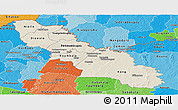 Shaded Relief Panoramic Map of Ferkessedougou, political shades outside
