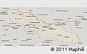 Shaded Relief Panoramic Map of Ferkessedougou, semi-desaturated