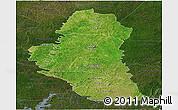Satellite Panoramic Map of Katiola, darken