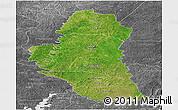 Satellite Panoramic Map of Katiola, desaturated