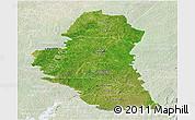 Satellite Panoramic Map of Katiola, lighten