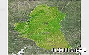 Satellite Panoramic Map of Katiola, semi-desaturated