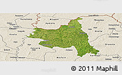 Satellite Panoramic Map of M'bengue, shaded relief outside