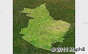 Satellite Panoramic Map of Korhogo, darken