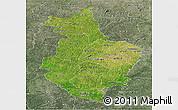 Satellite Panoramic Map of Korhogo, semi-desaturated