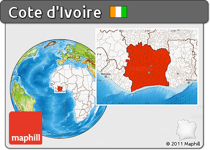 Physical Location Map of Cote D'Ivoire, highlighted continent