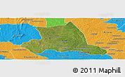 Satellite Panoramic Map of M'bahiakro, political outside