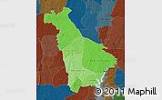 Political Shades Map of Mankono, darken