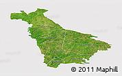 Satellite Panoramic Map of Mankono, cropped outside
