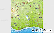 Physical Map of Cote d'Ivoire